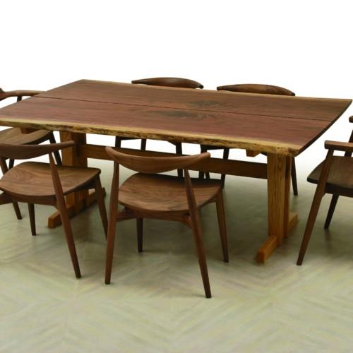 ブックマッチテーブル/ブラックウォルナット